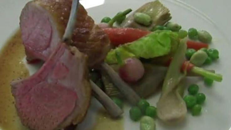 La recette du carré d'agneau de lait rôti, légumes de printemps cuisinés en cocotte