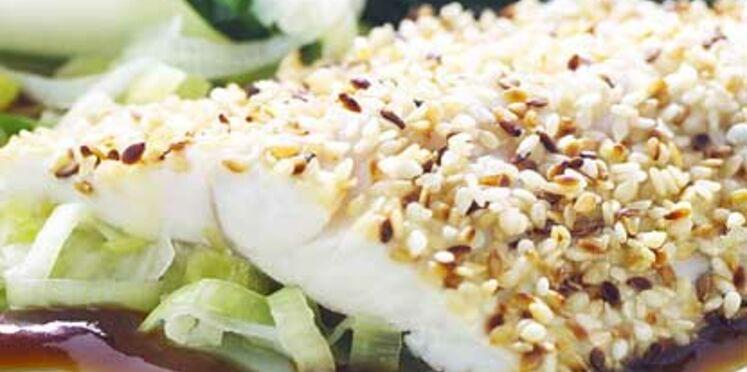 La recette du loup pané au sésame et petits légumes