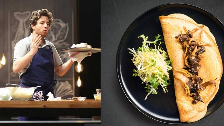 Vidéo : l'omelette soufflée aux champignons en 14 min de Jean Imbert