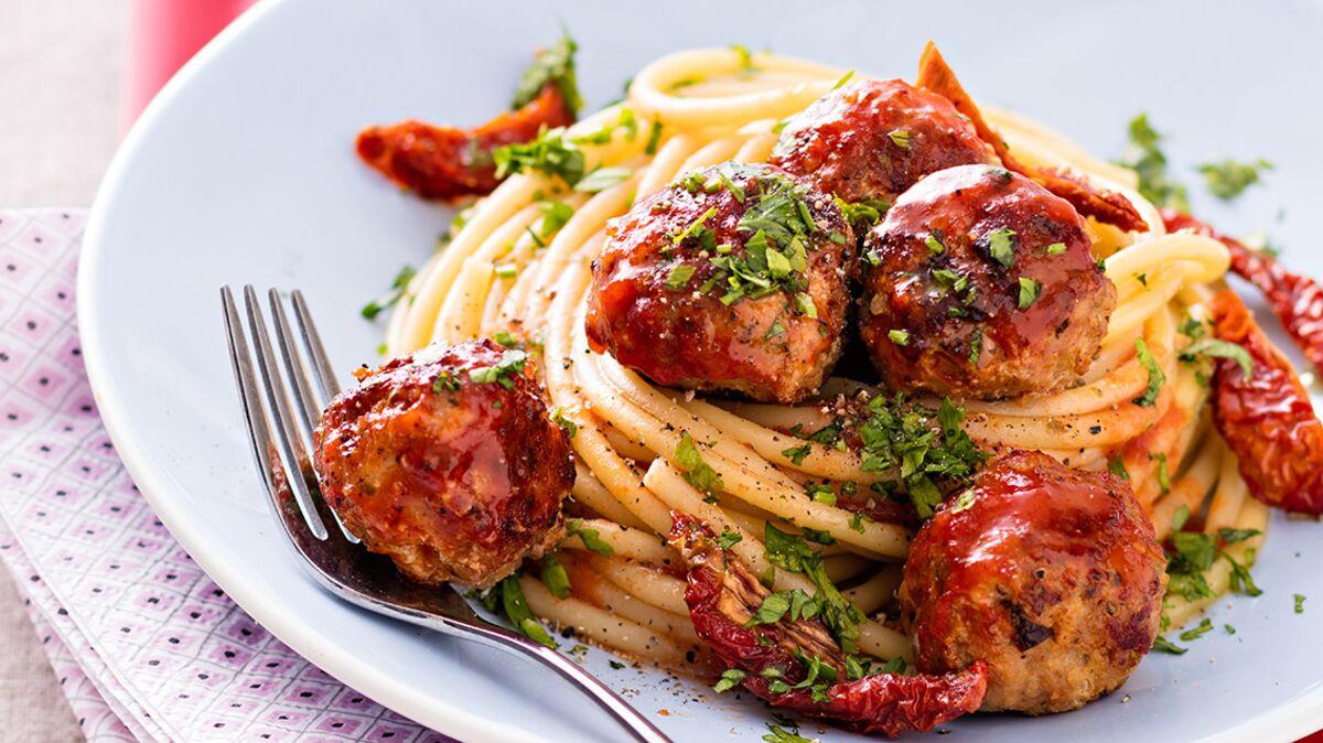 Spaghettis aux boulettes de veau