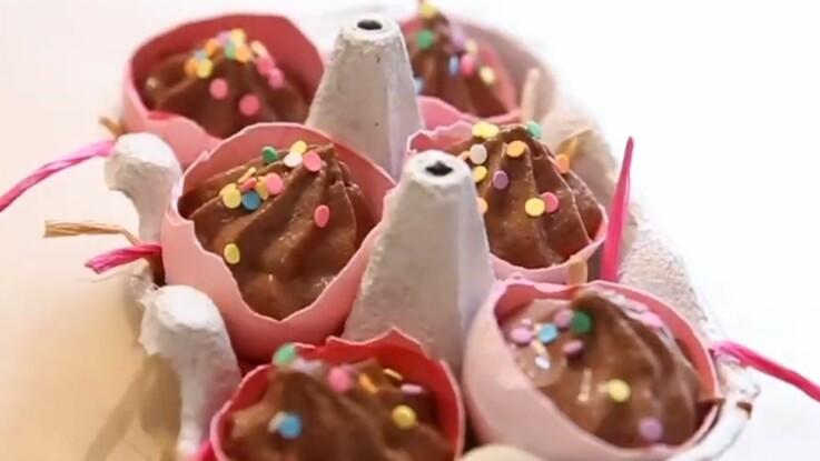 Des petites mousses au chocolat pour Pâques