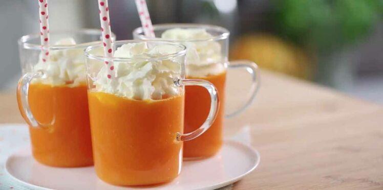 Recette du cappuccino carottes citron chantilly