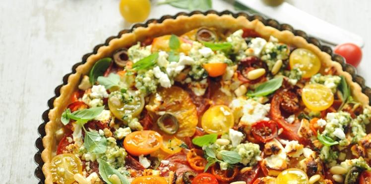 Tarte aux tomates et fromage de brebis