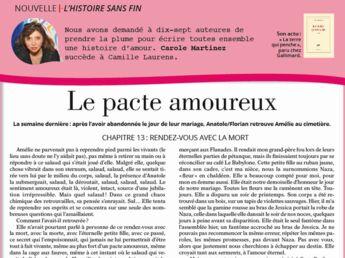 """Inédit: Histoire sans fin """"Le pacte amoureux"""" le chapitre 13 par Carole Martinez"""