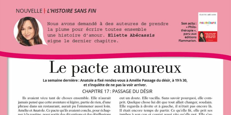 """Inédit: Histoire sans fin """"Le pacte amoureux"""" le chapitre 18 par Éliette Abécasiss"""