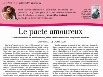 """Inédit: Histoire sans fin """"Le pacte amoureux"""" le chapitre 7 par Mireille Calmel"""