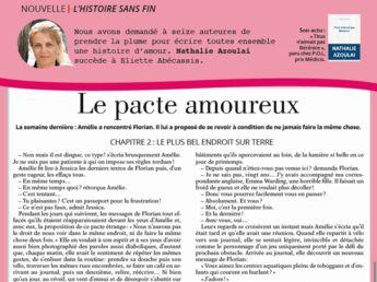 """Inédit: Histoire sans fin """"Le pacte amoureux"""" chapitre 2 par Nathalie Azoulai"""