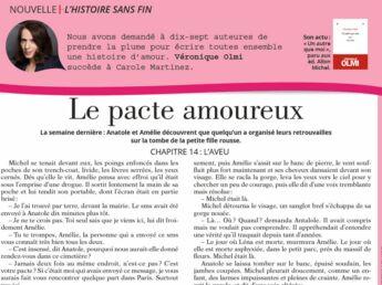 "Inédit: Histoire sans fin ""Le pacte amoureux"" le chapitre 14 par Véronique Olmi"