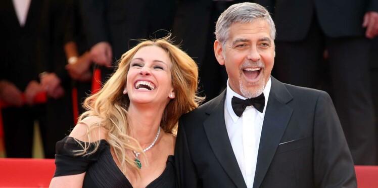Photos : faisant fi du protocole, Julia Roberts hilare au côté de George Clooney à Cannes