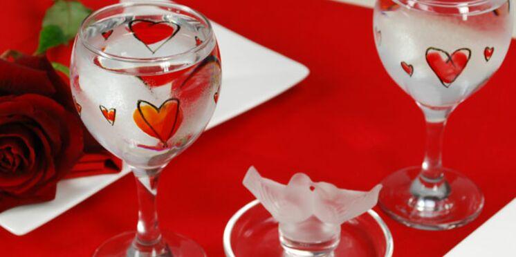 Peinture sur verre pour la Saint-Valentin