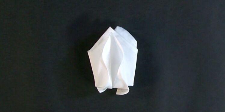 Pliage de serviette en forme de tulipe