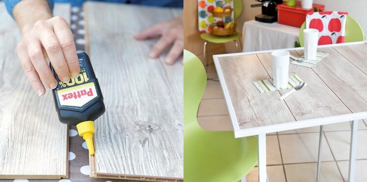 DIY récup : fabriquer une table avec un reste de parquet