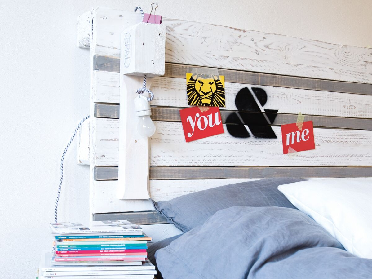 Modele De Lit En Palette récup : comment fabriquer une tête de lit en palette