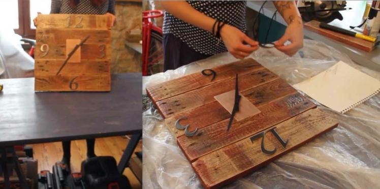 Récup : une horloge en bois de palette