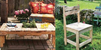 Meubles en palettes : table basse, banc et étagères assortis ...