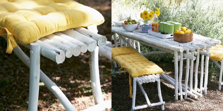 Fabriquer une table et un banc de jardin avec des rondins