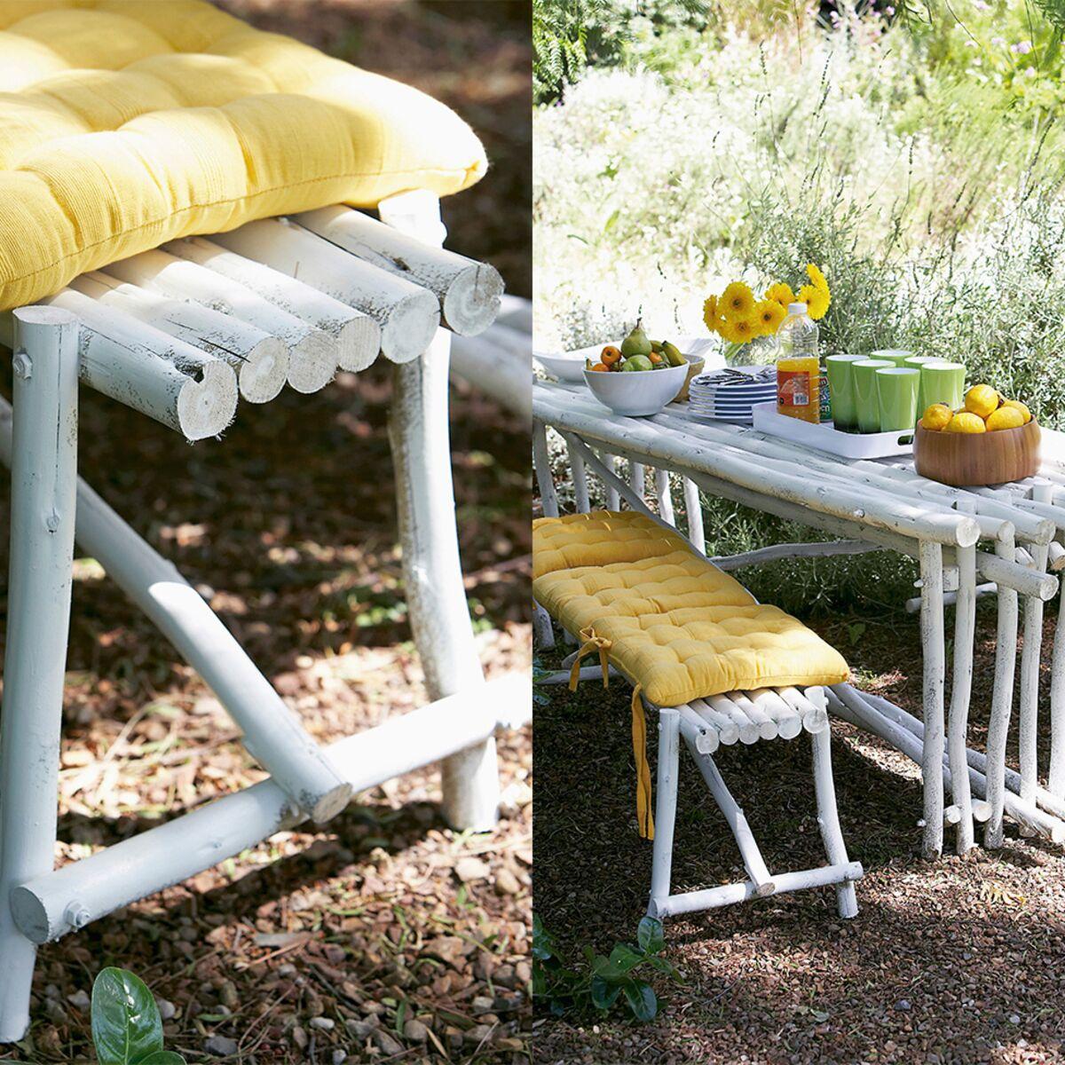 Comment Faire Une Balancelle En Palette fabriquer une table et un banc de jardin avec des rondins