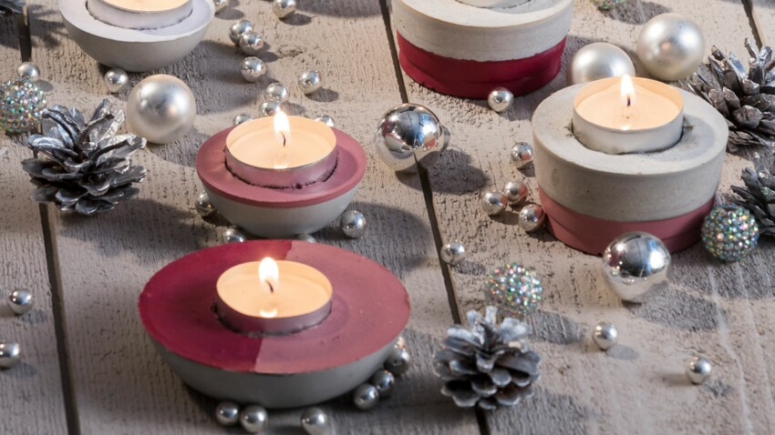 Des bougeoirs en béton pour ma table de Noël