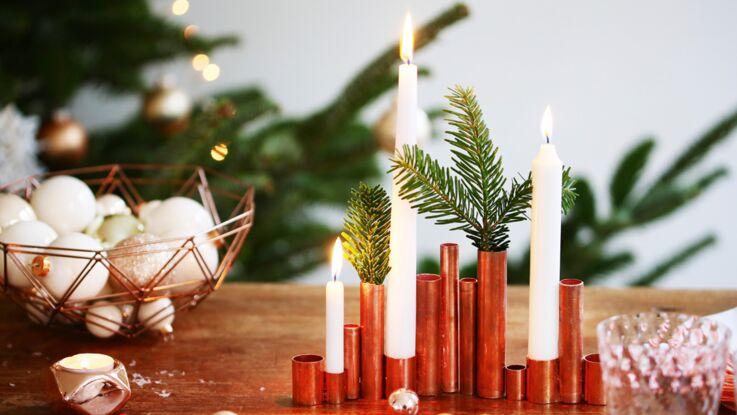 Des bougeoirs en cuivre pour ma table de Noël