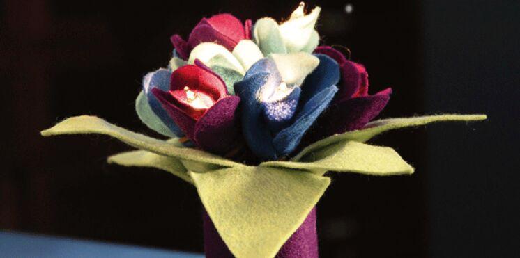Réalisez un bouquet en feutrine lumineux