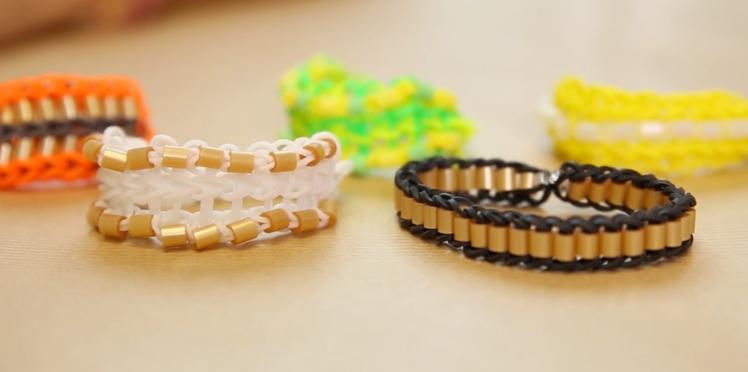 Bracelet élastique : le modèle triple simple avec des perles à repasser