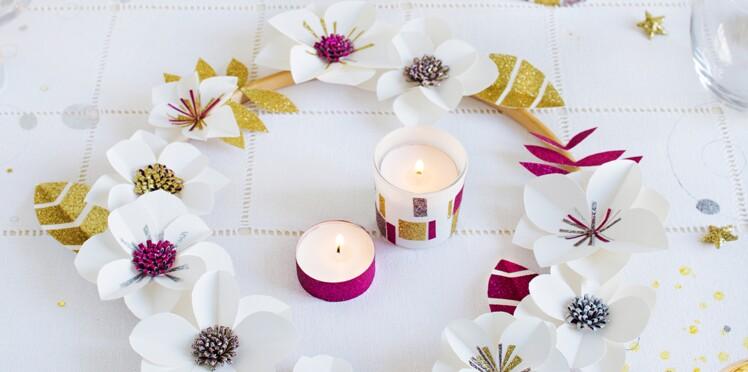 DIY de Noël : une couronne de l'Avent avec des fleurs en papier