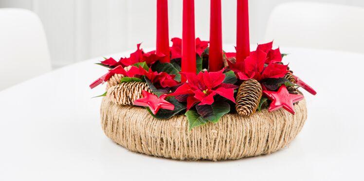 Une couronne de poinsettias pour ma table de Noël