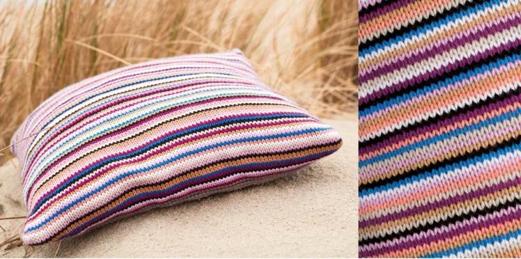 Un coussin rayures à tricoter