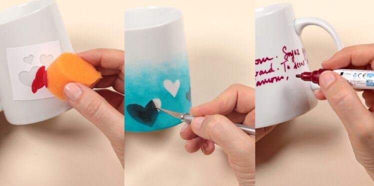 St Valentin : décorer un mug avec la peinture porcelaine