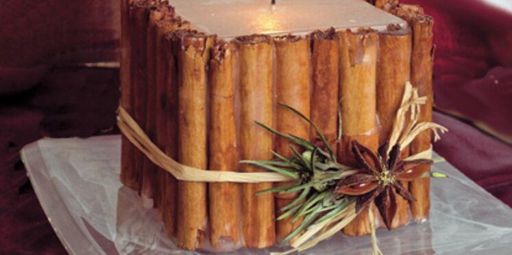 Réalisation et décoration d'une bougie à la canelle