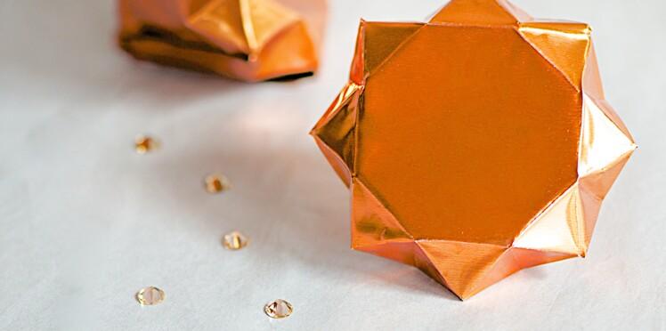 Un diamant origami en cuivre pour ma déco de Noël