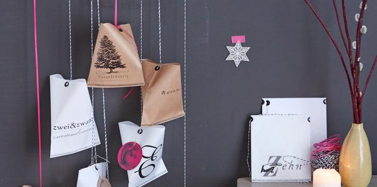 DIY : un calendrier de  l'Avent avec des pochettes suspendues