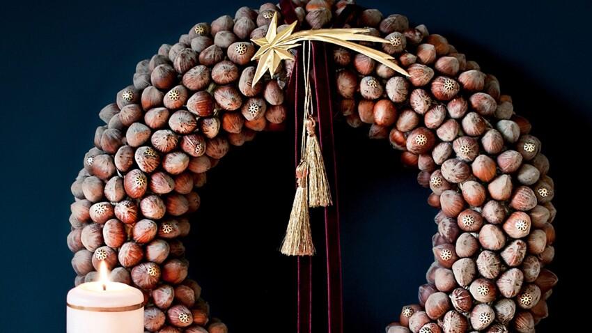 DIY de Noël : une couronne originale avec des noisettes