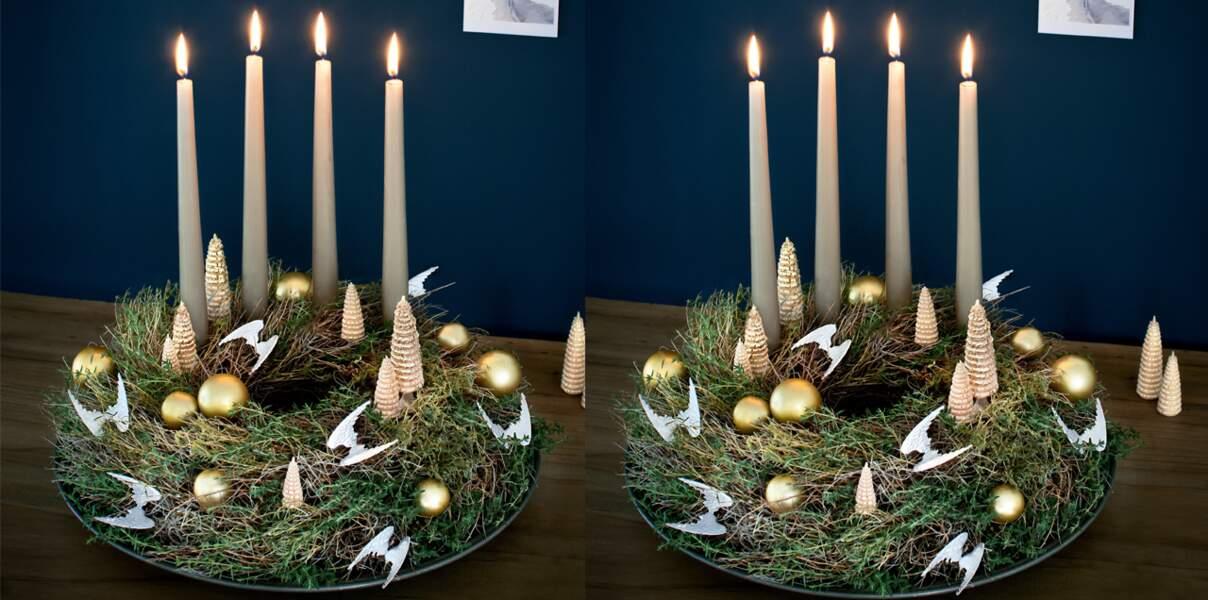 Une couronne végétale angélique pour Noël