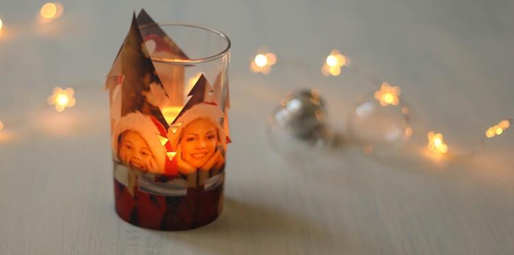 DIY déco de Noël : une photo de famille en photophore