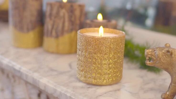 DIY Facile et pas cher : créez une bougie pailletée pour les fêtes