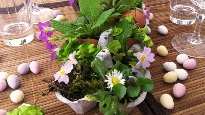 DIY récup : un centre de table fleuri, rapide et pas cher pour Pâques