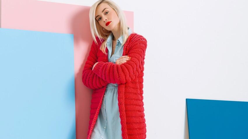 DIY tricot : un maxi gilet rouge top tendance