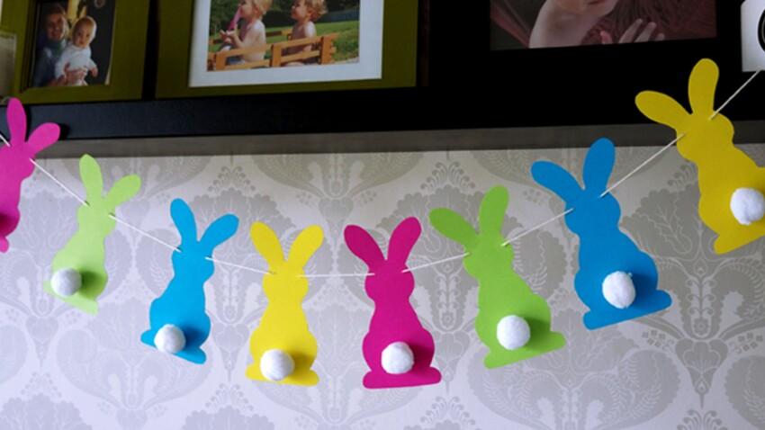 Une guirlande de lapins en papier pour Pâques
