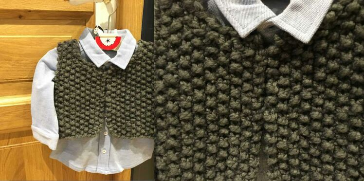 Layette : un gilet tricoté en 1 heure !