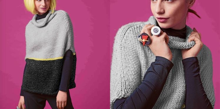 Modèle à tricoter : le pull cape bicolore