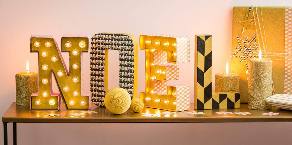 Des lettres lumineuses pour ma déco de Noël