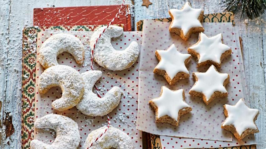 Sablés de noël à décorer : croissants à la vanille et étoiles à la cannelle