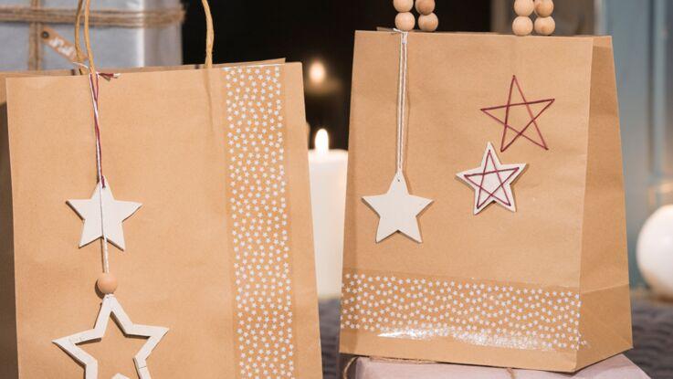 Je crée des sacs cadeaux décorés de pampilles en argile