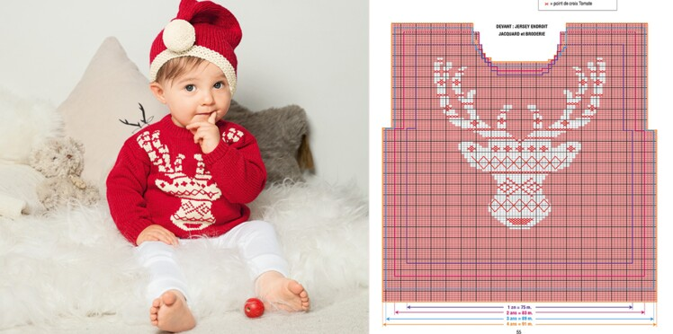 7860b702c1b Tricot pour bébé   pull et bonnet du petit lutin du père Noël ...