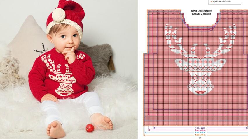 Tricot pour bébé : pull et bonnet du petit lutin du père Noël