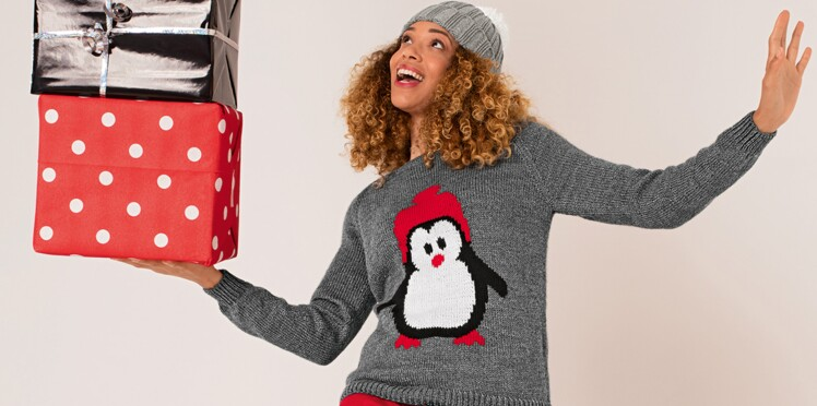 Tricot pour femme   un pull de Noël motif pingouin en jacquard ... f2c65f91dad6