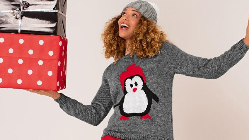 Tricot pour femme : un pull de Noël motif pingouin en jacquard