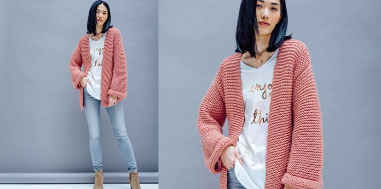 Tricot : la veste large au point mousse
