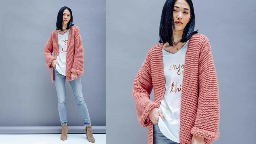 Tricot : la veste large au point mousse